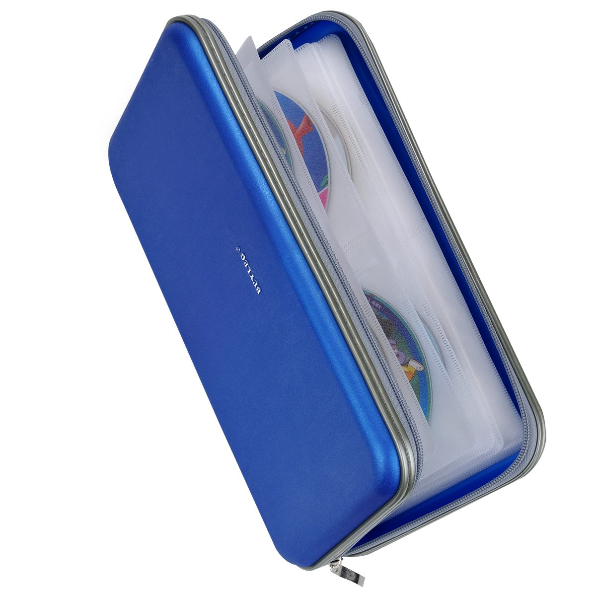 Wismart 72 Capacity Heavy Duty CD DVD Blu-ray Media Case Storage Holder Organizer Wallet (Blue)