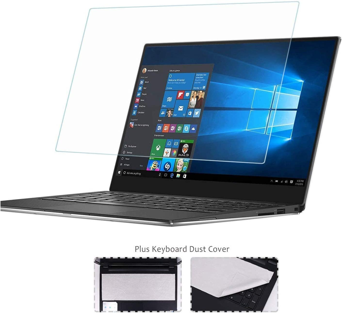 "14"" Glass Screen Protector+ Large Cleaning Cloth Compatible with All Brands of 16:9 Aspect Ratio Laptop [Lifetime Risk-Free Replacement Warranty]"