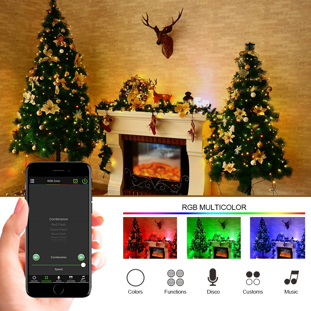 amazoncom brizled bluetooth smart string lights 33ft 100 led mini string lights with ios and android app controller for mothers day party wedding