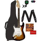 Fender Squier Affinity Stratocaster, Left Handed - Brown Sunburst Bundle with Gig Bag, Tuner, Strap, Picks, and Austin Bazaar