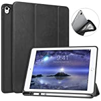 MoKo Case for iPad Pro 9.7 with Apple Pencil Holder - Slim Lightweight Smart Shell Stand Cover Case with Auto Wake/Sleep for Apple iPad Pro 9.7 Inch 2016 Tablet, Black