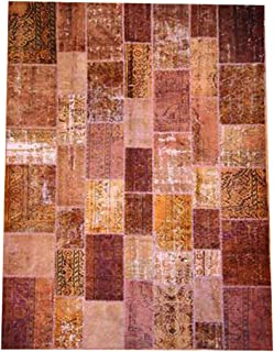 product image for Beekman 1802 Kindfolk Patchwork Rug, 9 by 12-Inch, Chocolate