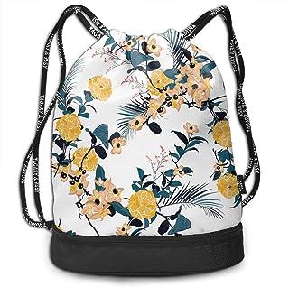 RAINNY Floral Print Flowers Fashion Beam Mouth Shoulder Bag Travel Drawstring Backpack Shoulder for Women