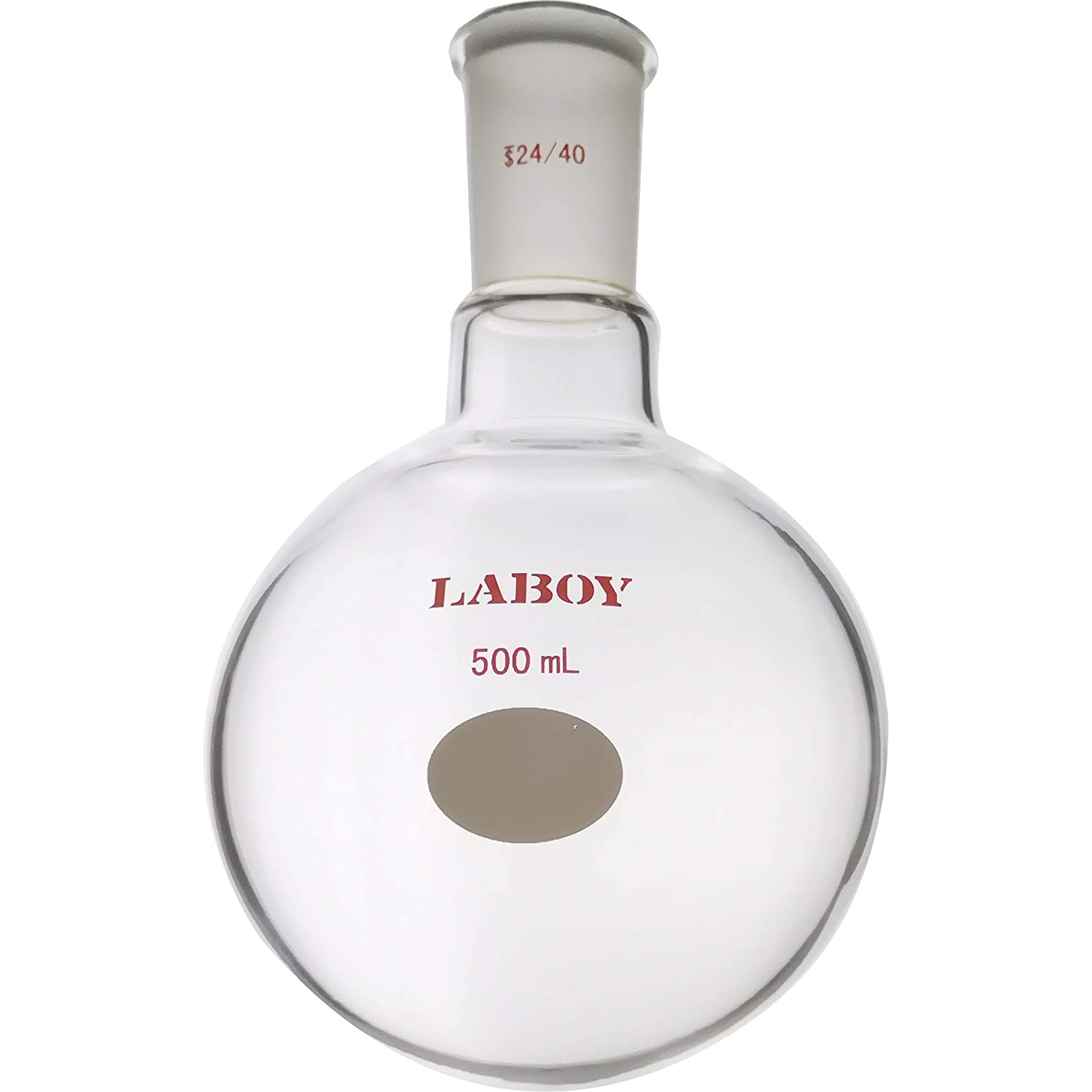 Laboy HMF010326 Glass Single Neck Round Bottom Distillation Boiling Flask 500 mL with 24/40 Joint Lab Glassware