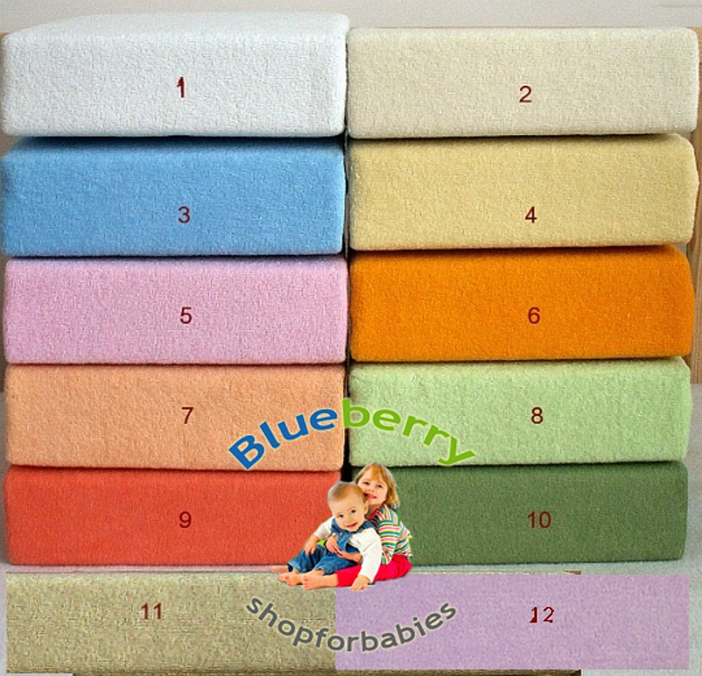BlueberryShop Terry Towelling Fitted Sheet for Toddler Bed/Baby Cot Bed, 140 cm Length x 70 cm Width, Blue Blueberry Shop for Babies 50016002