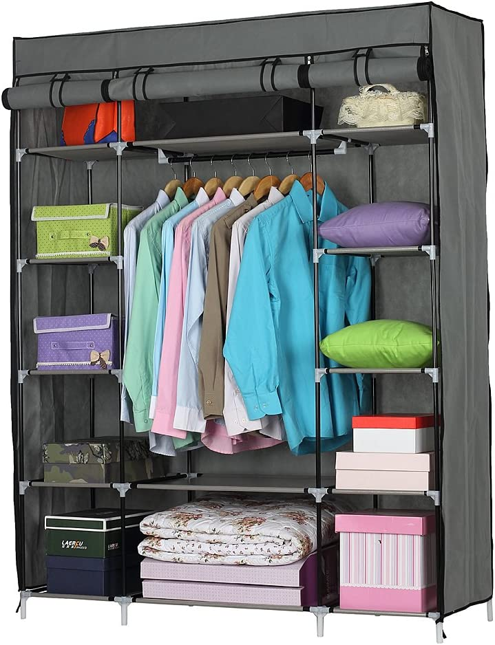 HOBBYN Portable Wardrobe Closet Non-Woven Fabric Wardrobe Clothes Closet Wardrobe Organizer Garment Rack with Sturdy Structure for Bedroom,Laundry Room, Dorm
