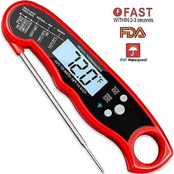 YIY Termómetro digital de carne resistente al agua con función de calibración y retroiluminación, termómetro