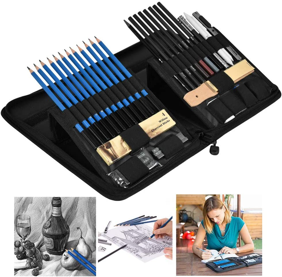 A Handy Case Erasers YOTINO 41 Pieces Drawing and Sketch Kit Sketching Pencils Set Complete Artist Kit Includes Pencils Professional Drawing Set for Kids Pastels Teens and Adults