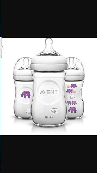 Amazon.com: Avent elefante 9oz Botella, sin BPA, niña, 3 ...