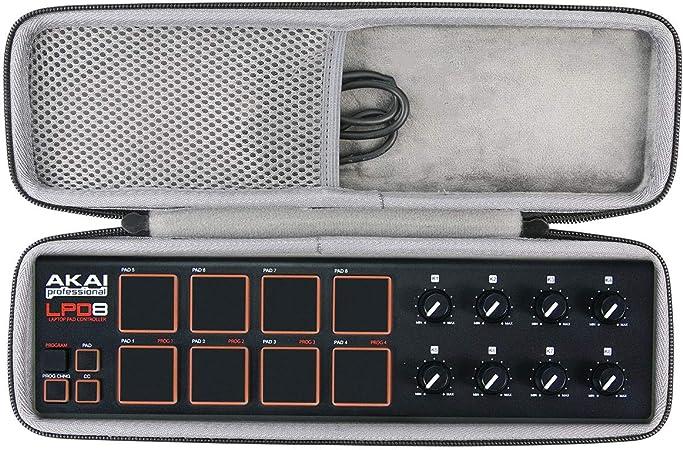 Afinador Almacenamiento Viajar que Lleva Caja Bolsa Fundas para AKAI Professional LPD8 Portable 8 Pad USB MIDI Drum Pad Controlador de co2CREA
