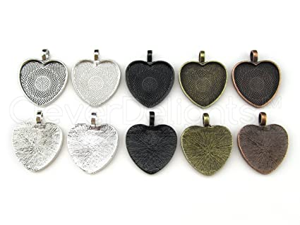 Amazon 20 cleverdelights 1 heart pendant trays mix pack 25 20 cleverdelights 1quot heart pendant trays mix pack 25 mm antique silver mozeypictures Choice Image