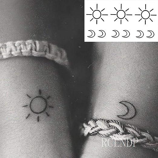 ljmljm 6 Piezas Etiqueta engomada del Tatuaje Impermeable Sun Moon ...