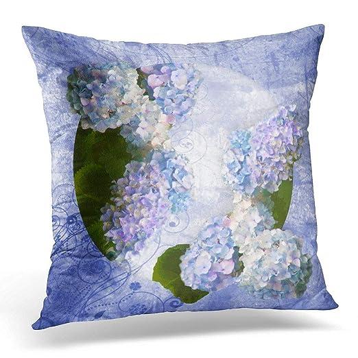 KL Decor Funda de Almohada Azul hortensias Vintage púrpura ...