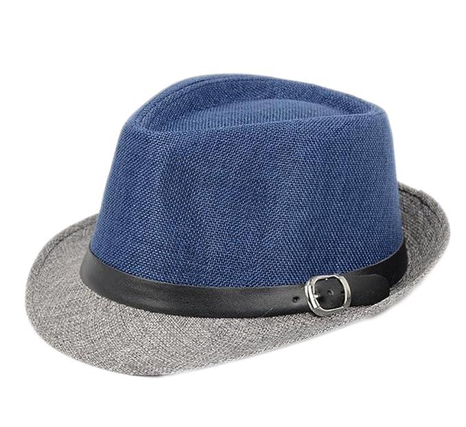 5bbf019599599 Leisial Hombre Sombrero del Jazz Paja de Lino Sombrero Estilo Británico  Verano Playa Sombrero Panamá Para Mujer Unisex