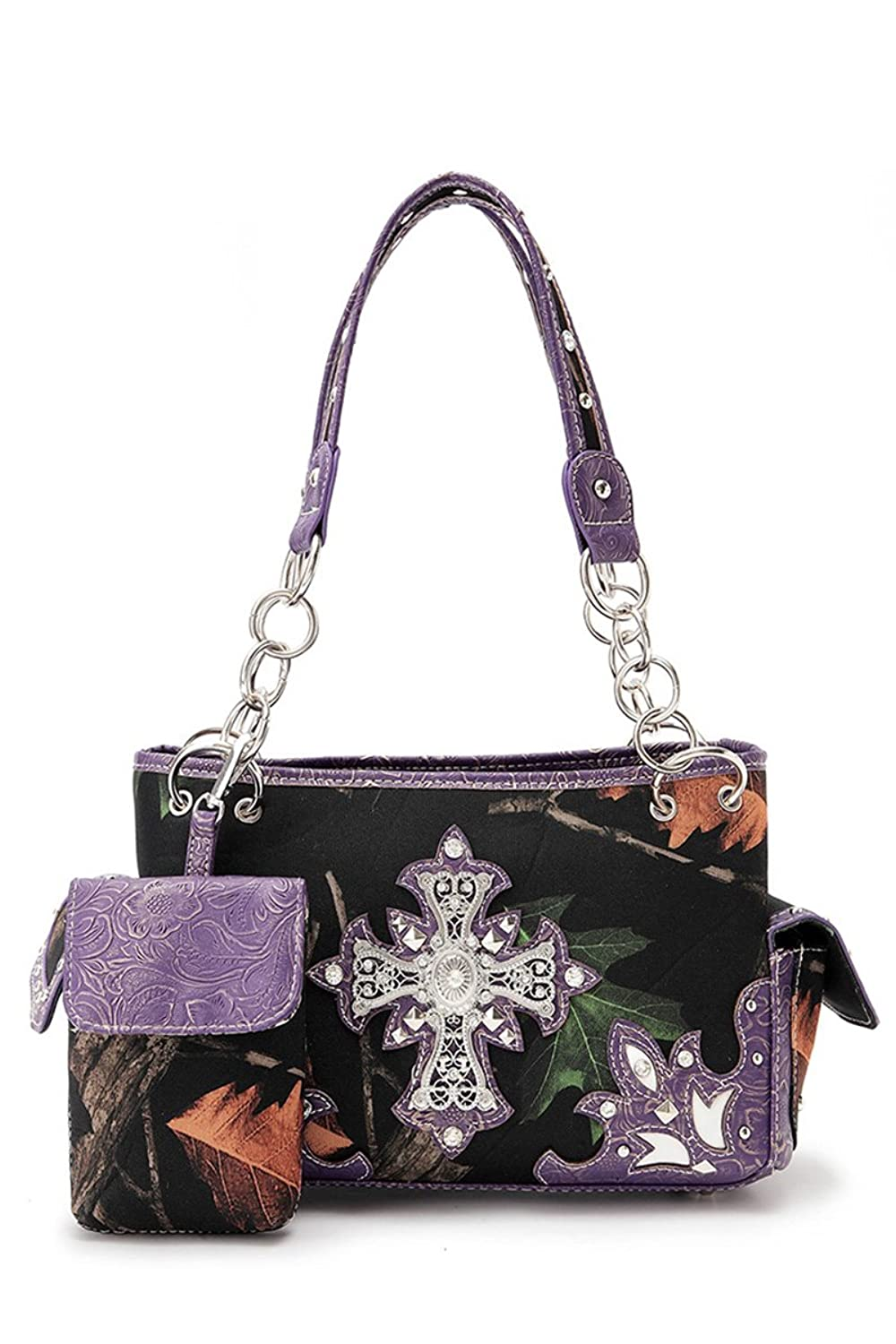 LColette Western Cowgirl Camouflage With Cross 2 Side Pocket Satchel Bag BML48469C