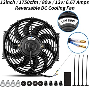 Universal High Performance Reversible 12 Inch Electric Engine Radiator Cooling Fan with Mounting Kit 1750 CFM 12 Volts 6.67 Amps 80 Watts