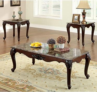 Amazon Com 247shopathome Living Room Table Sets Cherry Furniture Decor