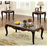 Chester Classic Style Dark Cherry Finish 3 Piece Coffee & End Table Set