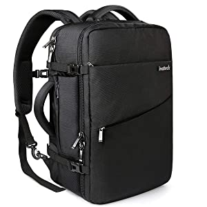 Inateck 40L Travel Backpack, Flight Approved Carry-On Luggage Backpack, Anti-Theft Laptop Rucksack Large Daypack Weekender Bag for 17'' Laptop - Black