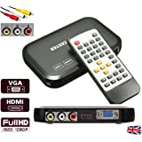 HD Multi Media Player Box Full 1080P Portable, Plays almost all Audio Video Photo files, 4 outputs HDMI VGA RCA AV, inputs: USB Port SD Card HDD Loop and Auto Play from powering