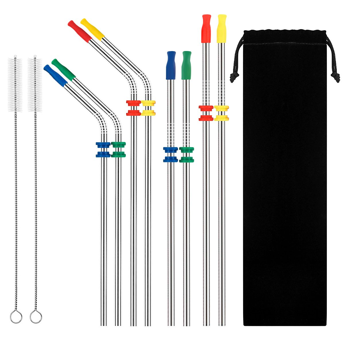 10.5'' Kimyer Stainless Steel Metal Drinking Straws,Fits Yeti RTIC or Any 20 or 30 oz Tumbler, Reusable Ecofriendly with 8 Colors Silicone Silencers and Comfort Tips Cover