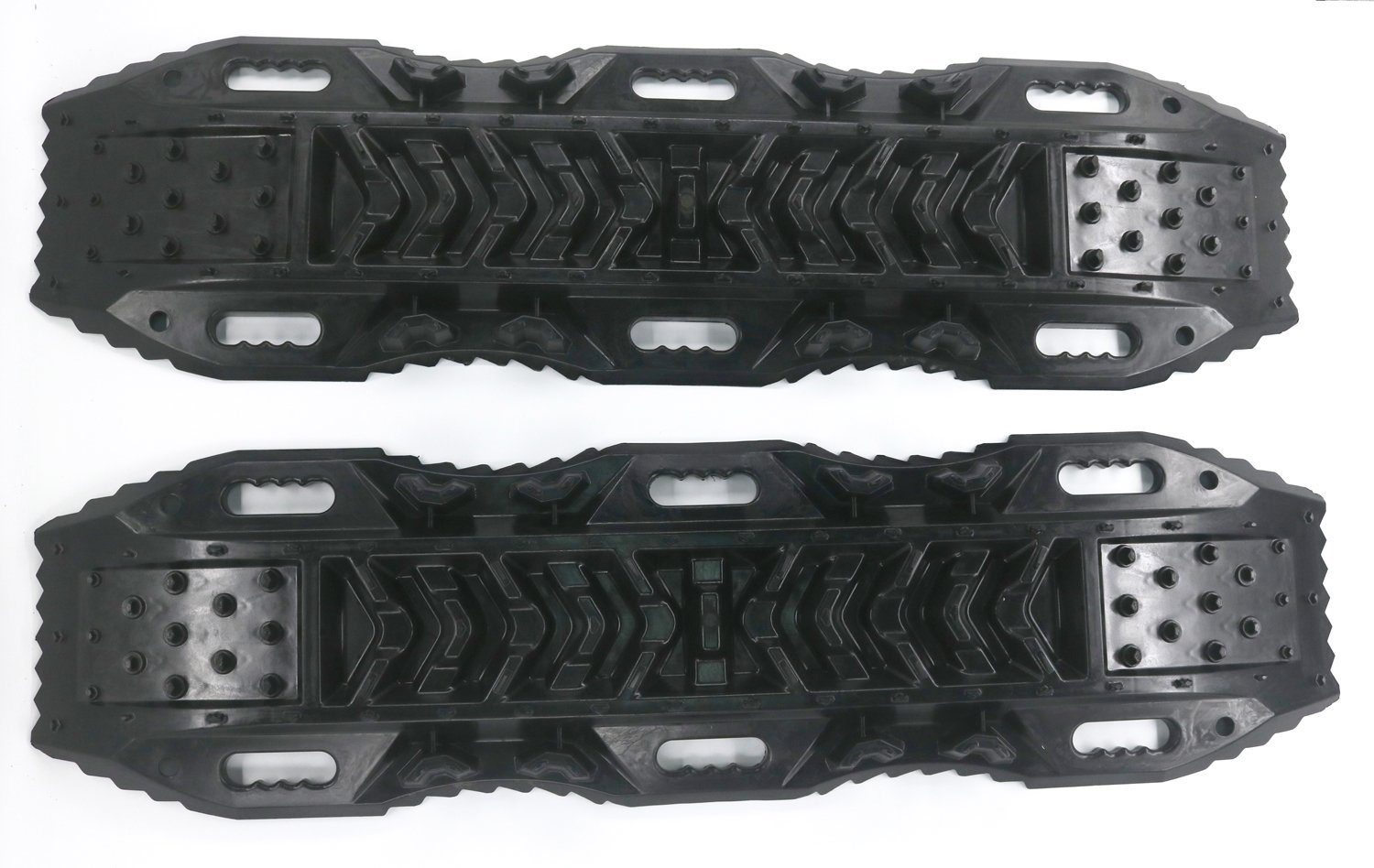 2 Pack RUGCEL Recovery Traction Mat Offroad Black Tracks Sand Snow Tire Ladder 4WD Track