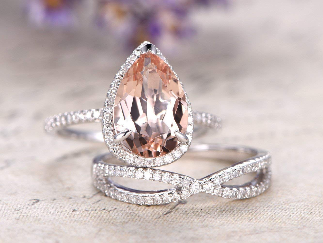 2 Natural Pink Morganite Engagement Ring Set,8X12Mm Pear Shaped Schnitt Pink Gemstone Diamond Halo Rings Half Eternity Si I-J Diamonds Promise Wedding Matching Band Anniversary Sets Size 4-10 Vintage