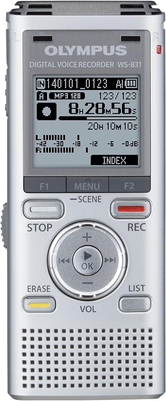 Olympus WS-831 - Grabador de voz digital portátil para Windows/Mac OS (Disco duro de 2 GB), plateado: Amazon.es: Oficina y papelería