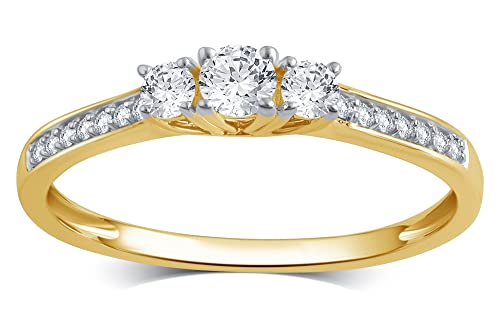 10k Solid Gold Princess or Round Diamond Three Stone Ring 1 4-1 2 cttw, I-J Color, I2-I3 Clarity