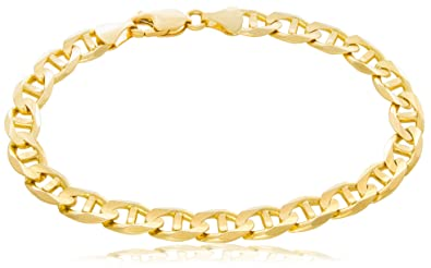 ab6ab4608fa Solid Gold Mariner Link Chain Bracelet 14K Yellow Gold 7mm Wide by 7-1/