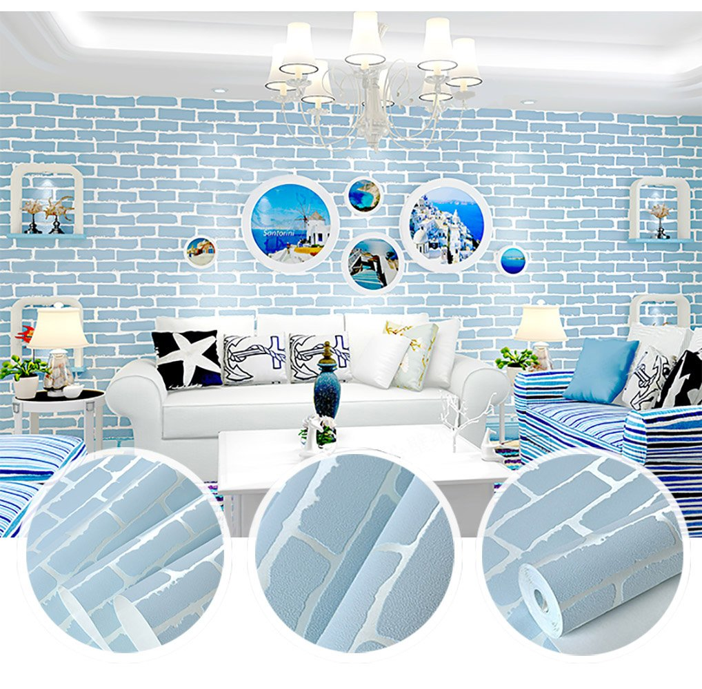 N.SunForest Blue 3D Textured Self-Adhesive Peel and Stick Brick Grain Non-Woven Fabric Wallpaper Home Living Room Bedroom Baby Nursery Wall Decor Art Murals