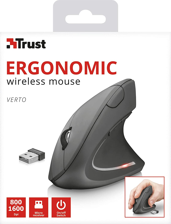 Iluminado Trust Verto Rat/ón ergon/ómico Vertical Color Negro