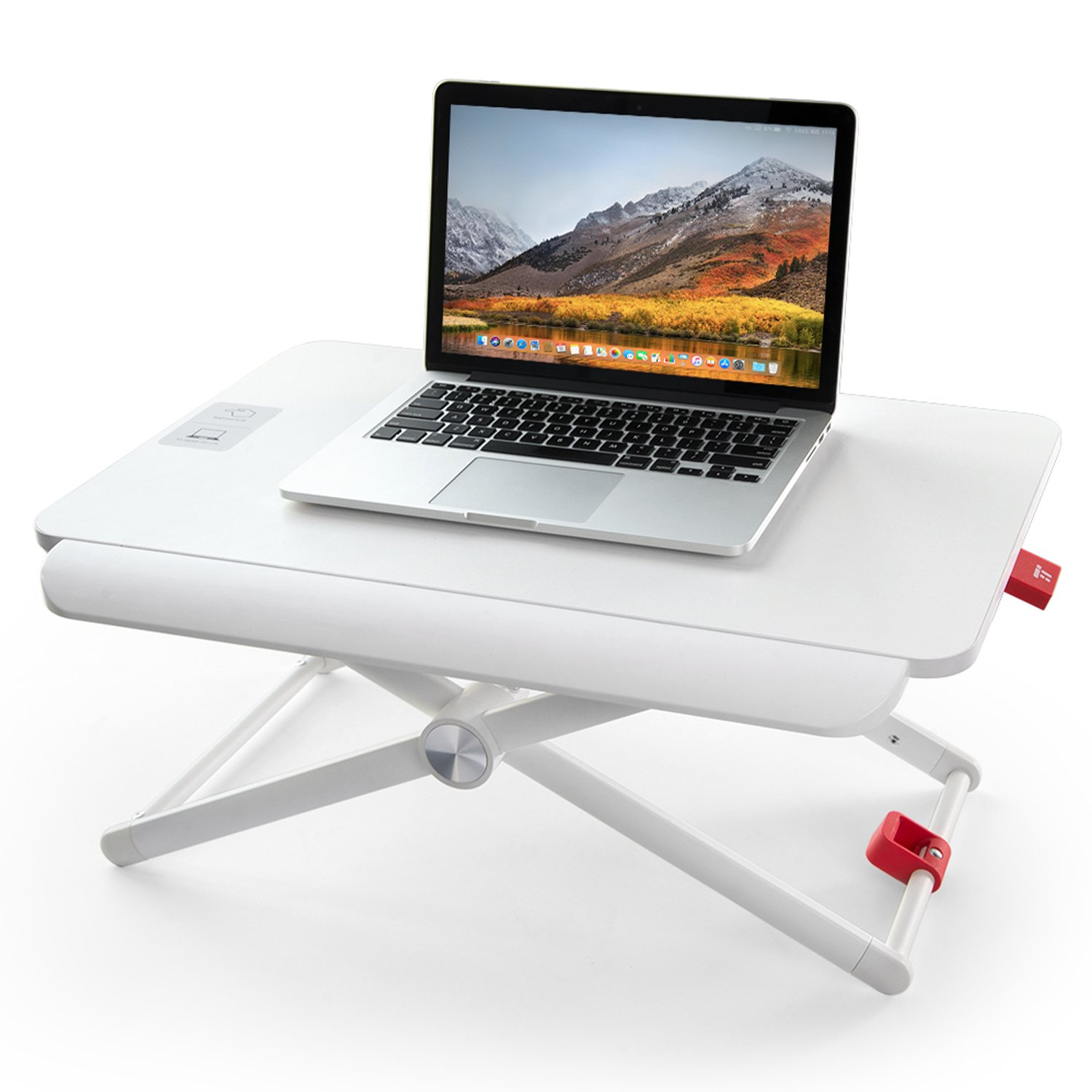 """TaoTronics Standing Desk Converter, Height-Adjustable Stand Up Desk, 24"""" Laptop Table, Notebook Stand, Sit to Stand in Seconds, White"""