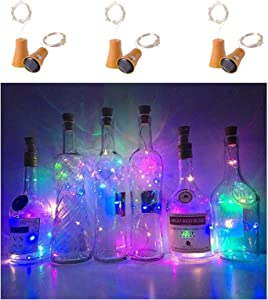 NiniTe 6 Pack Solar Powered Wine Bottle Lights, 10 LED Waterproof Colorful Copper Cork Shaped Lights for Wedding Christmas, Outdoor, Holiday, Garden, Patio Pathway Decor