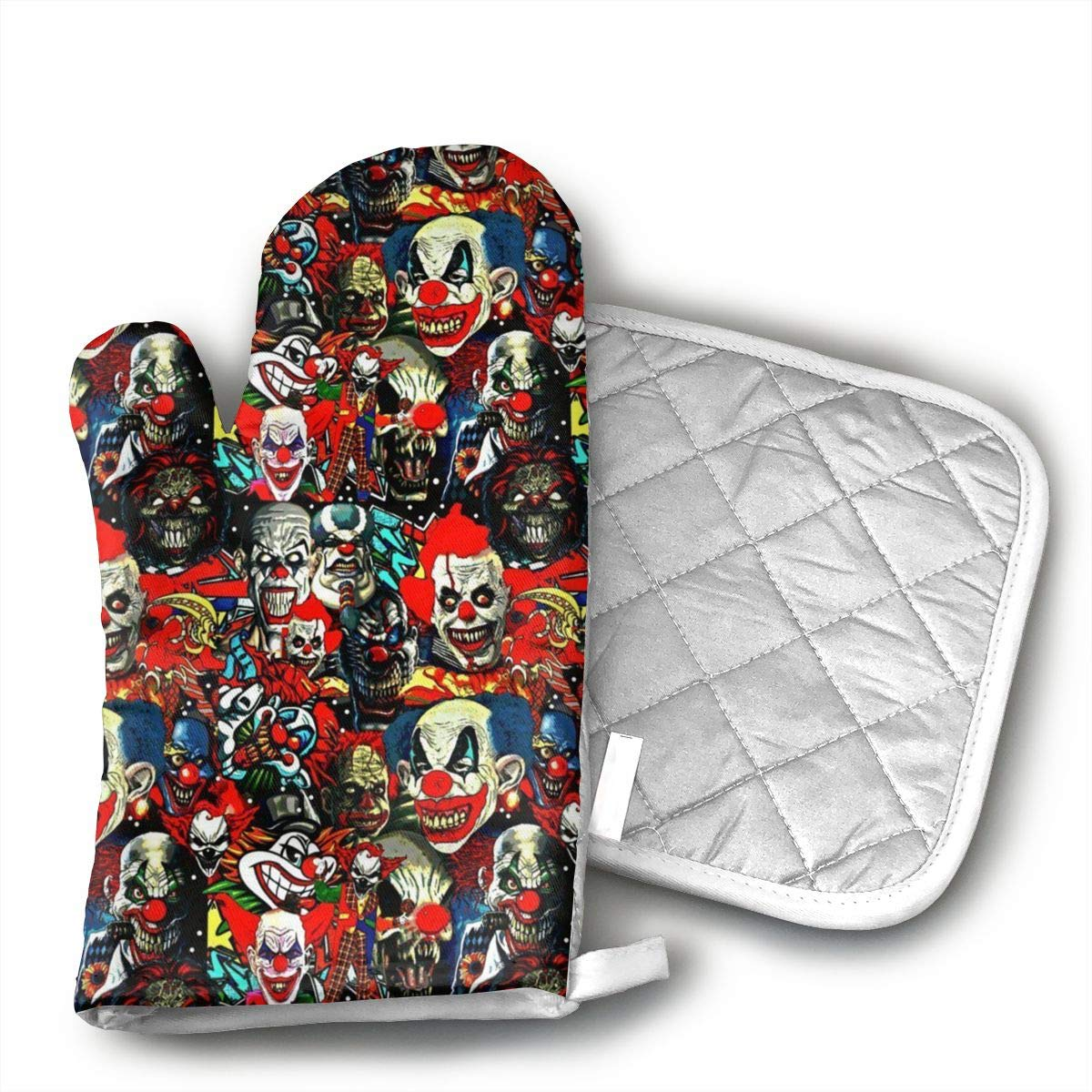 ujd Clowns The Bad Boys Neoprene Oven Mitts and Potholder Set-Heat Resistant Oven Gloves to Protect Hands and Surfaces with Non-Slip Grip, Hanging Loop-Ideal for Handling Hot Cookware Items