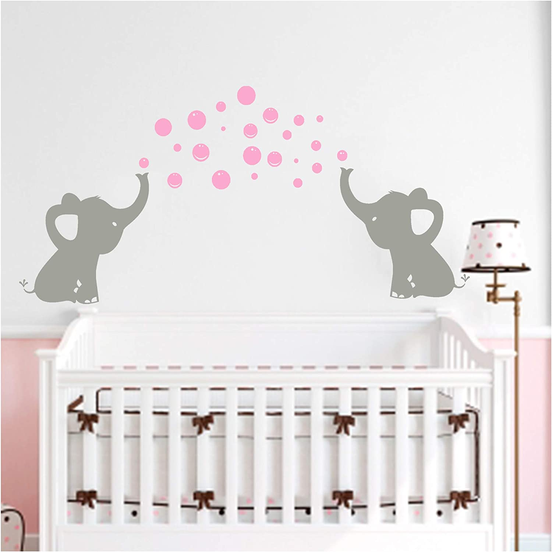 Bdecoll Nursery Wall Decals Baby Boy Or Girl Bedroom Decoration Elephants Wall Stickers Nursery Decor Pink Bubble Elephant Amazon Co Uk Diy Tools