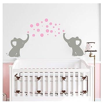 BDECOLL Familia mignon Elephant Stickers muraux avec amour Langue ...