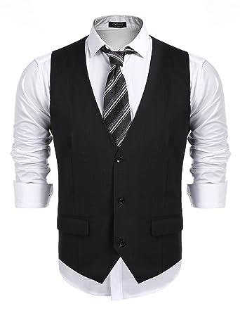 cbe4163f658a COOFANDY Men's Business Suit Vest,Slim Fit Skinny Wedding Waistcoat, Black,  Small