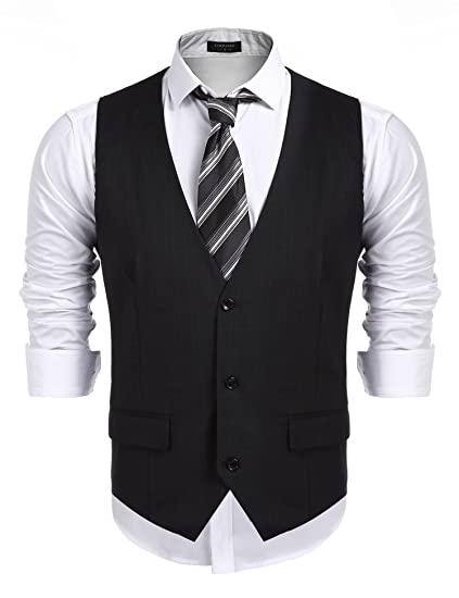 f5e8a7e9389 COOFANDY Men's Business Suit Vest,Slim Fit Skinny Wedding Waistcoat