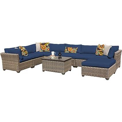 TK Classics Monterey 9 Piece Outdoor Wicker Patio Furniture Set, Navy