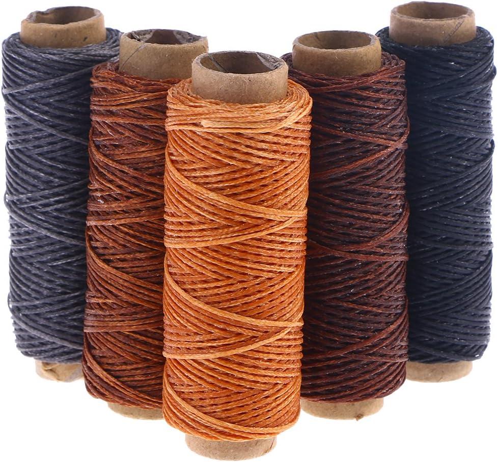 SUPVOX 5pcs 50m hilo de cera cordón encerado plano Costura del cordón de cuero Herramienta Craft: Amazon.es: Hogar