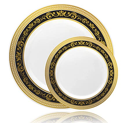 Posh Setting Royal Collection Combo Pack China Look White Gold/Black Plastic Plates  sc 1 st  Amazon.com & Amazon.com: Posh Setting Royal Collection Combo Pack China Look ...