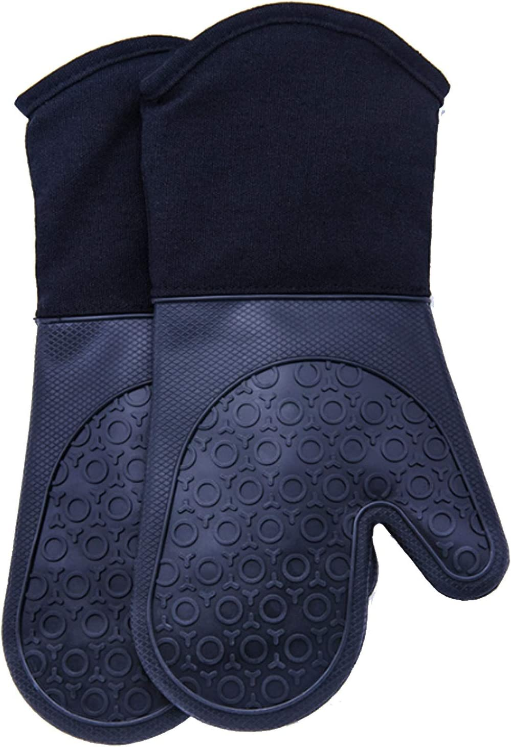 HAIMEI-US Silicone Oven Mitts with Quilted Cotton Lining - Professional Heat Immune Pot Holders Gloves (Color : Black, UnitCount : One)