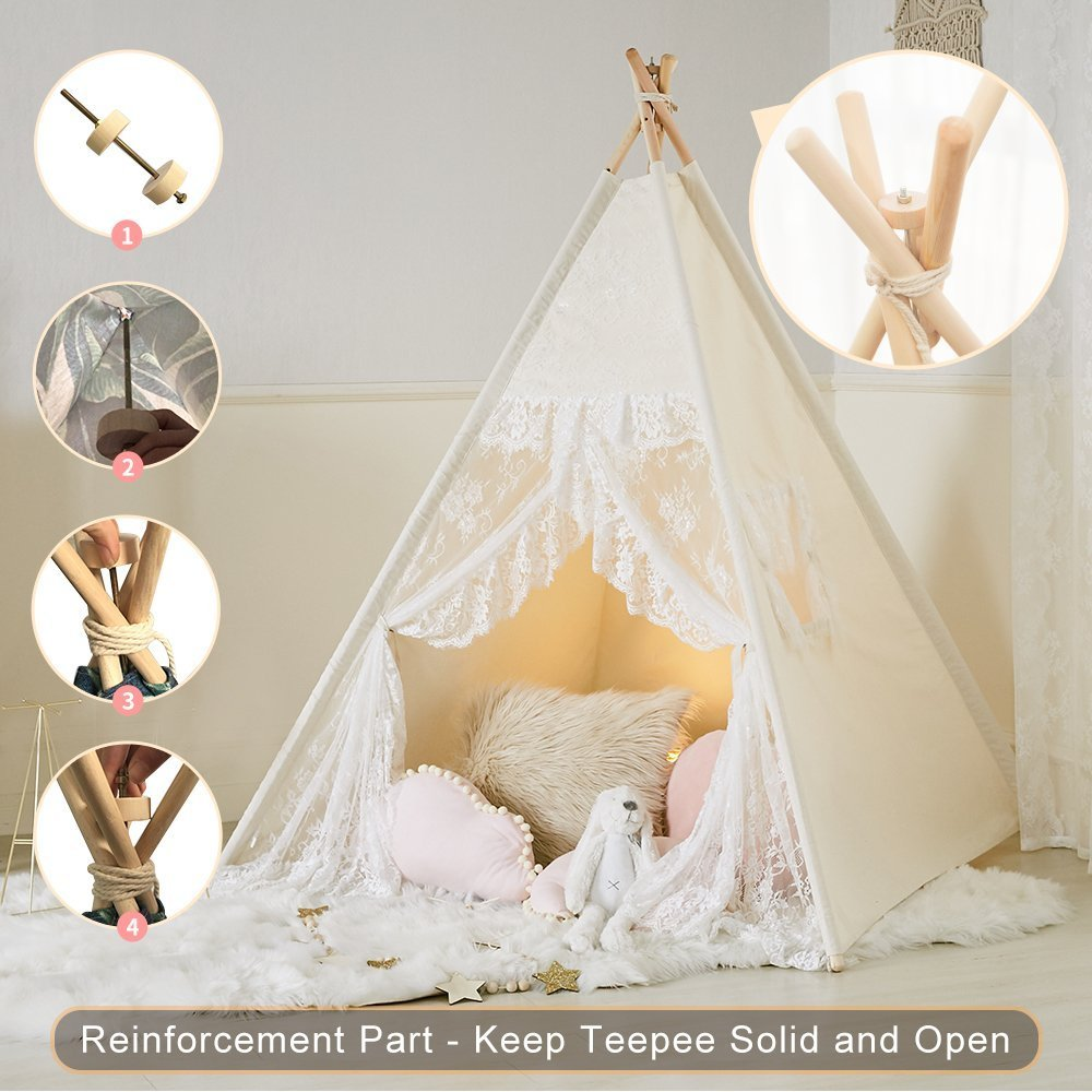 Little Dove Floral Classic Ivory Kids Teepee Kids Play Tent Childrens Play House Tipi Kids Room Decor by little dove (Image #3)