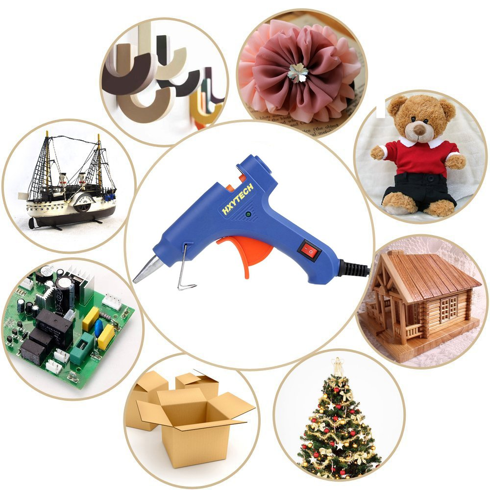 HXYTECH Mini Hot Glue Gun with 30 Pieces Melt Glue Sticks, 20 Watts Blue High Temperature Glue Gun for DIY Small Craft Projects Sealing and Repairs by Hxytech (Image #5)