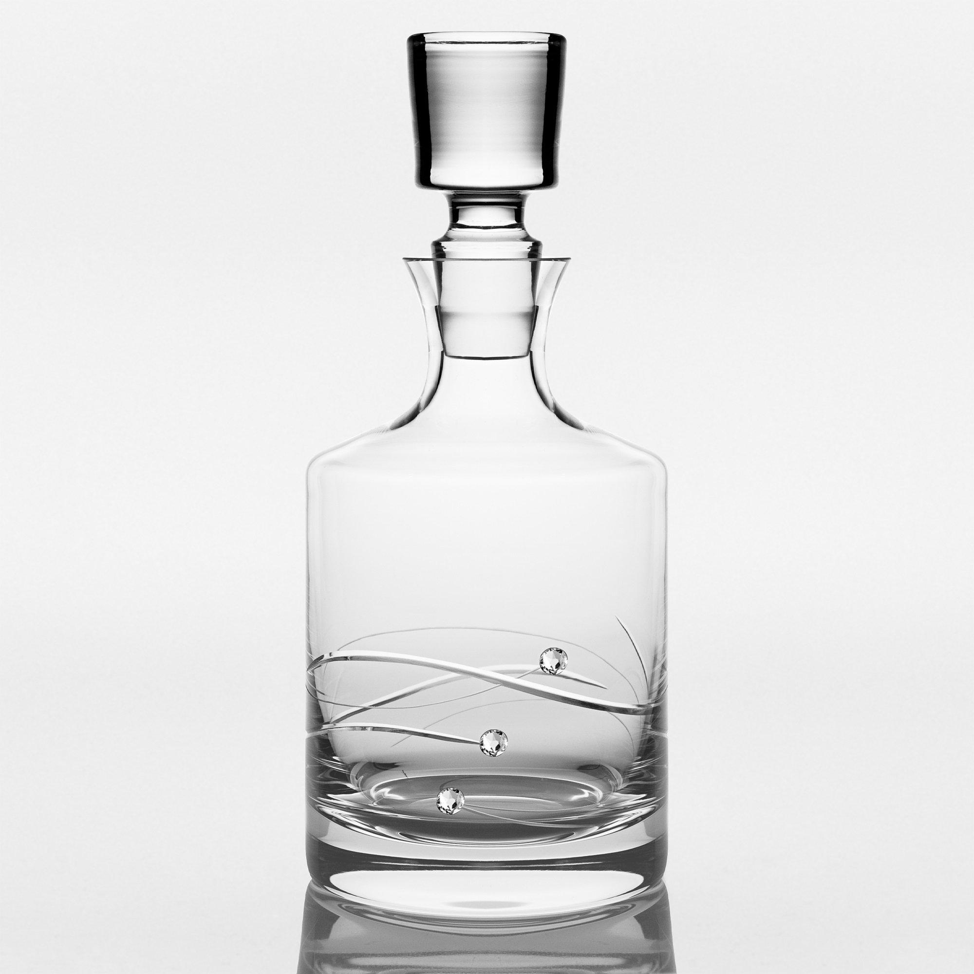 Barski - Handmade Glass - Sparkle - Whiskey Decanter - Decorated with Real Swarovski Diamonds - Gift Boxed - 26 oz .- Made in Europe by BARSKI (Image #2)