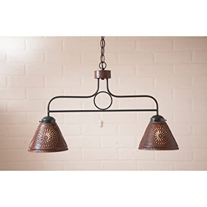 Wrought Iron BAR Light Punched Tin Shades Rustic Country Island ...