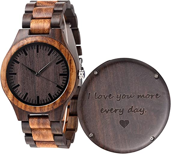 Engraved Wood Watch Anniversary Gifts For Men Boyfriend Husband Personalized Wooden Wristwatch Idea For Him Christmas Gifts Fathers Day Gifts Graduation And Birthday Gift Amazon Co Uk Watches