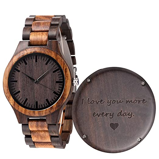 Christmas Gift Ideas For Him Amazon.Engraved Wood Watch Anniversary Gifts For Men Boyfriend Husband Personalized Wooden Wristwatch Idea For Him Christmas Gifts Fathers Day Gifts