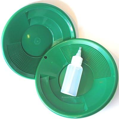 "Sluice Fox Lot of 2-10"" Green Gold Pans w/Bottle Snuffer-Panning Kit-Dual Riffles-Mining: Sports & Outdoors"